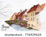 bruges in belgium sketch... | Shutterstock . vector #776929624
