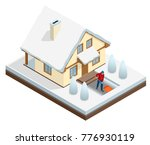 man with shovel cleaning snow... | Shutterstock .eps vector #776930119
