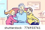 grandchildren and granny. a boy ... | Shutterstock .eps vector #776933761