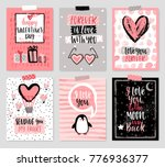 valentine s day card set   hand ... | Shutterstock .eps vector #776936377