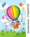 cartoon kids riding a hot air...   Shutterstock .eps vector #776942755