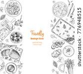 family dinner top view  vector... | Shutterstock .eps vector #776948515
