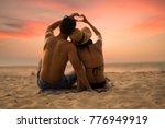 couple lover make hand lover on ... | Shutterstock . vector #776949919