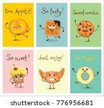 cartoon cards with funny food... | Shutterstock .eps vector #776956681