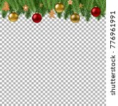 christmas branch border with... | Shutterstock .eps vector #776961991