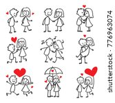couple in love stick figure... | Shutterstock .eps vector #776963074