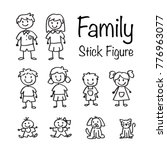 family stick figure doodle set | Shutterstock .eps vector #776963077