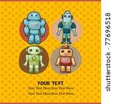 seamless robot pattern | Shutterstock .eps vector #77696518