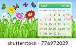 calendar of may 2018 month... | Shutterstock .eps vector #776972029