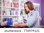 beautiful customer woman... | Shutterstock . vector #776979121