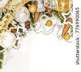 golden and silver christmas... | Shutterstock . vector #776990065
