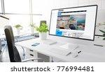 computer with trends magazine... | Shutterstock . vector #776994481