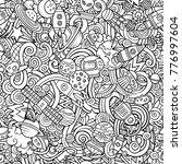 Cartoon cute doodles Space seamless pattern. Line art detailed, with lots of objects background. All objects separate. Backdrop with cosmic symbols and items