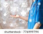 doctor pushing button dollar... | Shutterstock . vector #776999794