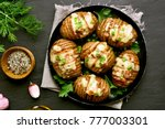 delicious baked potatoes with... | Shutterstock . vector #777003301