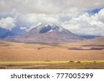 landscape of volcanoes and... | Shutterstock . vector #777005299