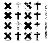 religion cross . black paint .... | Shutterstock .eps vector #777014197