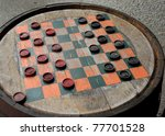 Game Of Checkers On Old Fashion ...