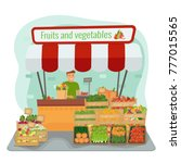 local farm fruits and... | Shutterstock .eps vector #777015565