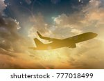 silhouette of airplane take off ... | Shutterstock . vector #777018499