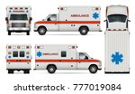 white ambulance car vector mock ... | Shutterstock .eps vector #777019084