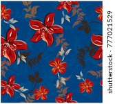 vector seamless pattern flowers ... | Shutterstock .eps vector #777021529