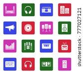 stereo icons. white flat design ... | Shutterstock .eps vector #777027121