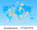 bitcoin map network crypto... | Shutterstock .eps vector #777027979