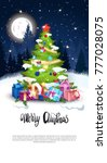 merry christmas greeting card... | Shutterstock .eps vector #777028075