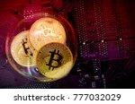 bitcoin in a soap bubble on pc... | Shutterstock . vector #777032029