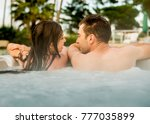 young and happy couple inside a ...   Shutterstock . vector #777035899