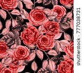 watercolor flower seamless... | Shutterstock . vector #777038731