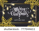 merry christmas greeting card... | Shutterstock .eps vector #777044611