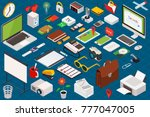 big set of isometric volumetric ... | Shutterstock . vector #777047005