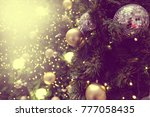 decorated christmas tree on... | Shutterstock . vector #777058435