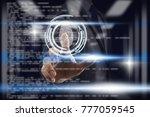 businessman fingerprint scan... | Shutterstock . vector #777059545
