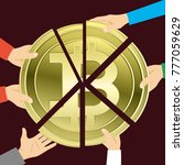 people take bitcoin. | Shutterstock .eps vector #777059629