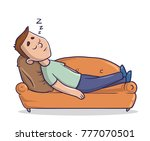 young man lying on a sandy... | Shutterstock .eps vector #777070501