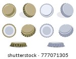 bottle cap view from top  side... | Shutterstock .eps vector #777071305