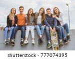 summer holidays and teenage... | Shutterstock . vector #777074395
