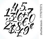 brush lettering numbers ... | Shutterstock .eps vector #777075571