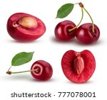 set sweet cherry berry. one cut ... | Shutterstock . vector #777078001