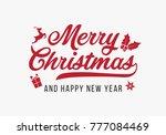 hand lettering merry christmas... | Shutterstock .eps vector #777084469