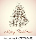 hand drawn christmas tree... | Shutterstock .eps vector #777088657