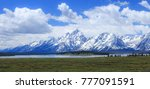 the snow capped mountains of... | Shutterstock . vector #777091591