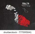 malta map with flag inside on... | Shutterstock .eps vector #777095041