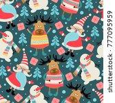 seamless pattern. merry... | Shutterstock .eps vector #777095959