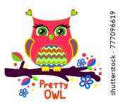 pretty owl illustration with... | Shutterstock .eps vector #777096619