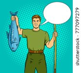 fisherman with fishing rod and... | Shutterstock .eps vector #777097279