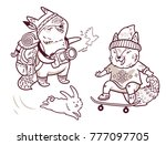 contour set of two cute baby... | Shutterstock .eps vector #777097705